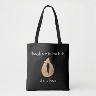 woman walking through fire with quote tote