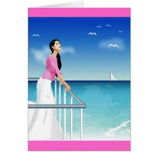 woman watching the sea card