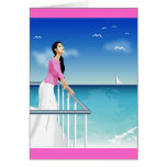 woman watching the sea greeting card