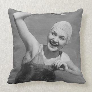 Woman Waving Pillow