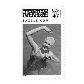 Woman Waving Postage
