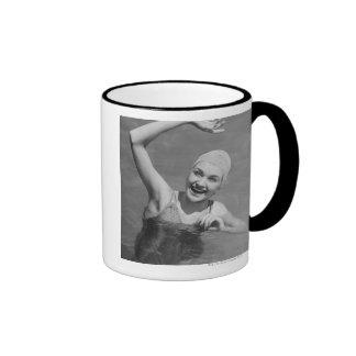 Woman Waving Ringer Coffee Mug