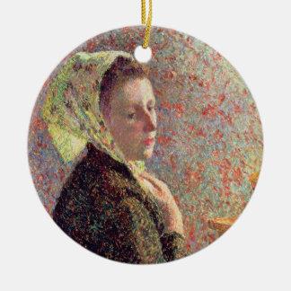 Woman wearing a green headscarf, 1893 ceramic ornament