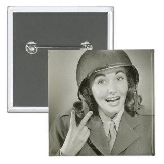 Woman Wearing an Army Helmet Pinback Button