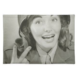Woman Wearing an Army Helmet Cloth Placemat