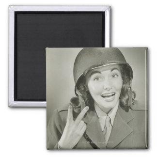 Woman Wearing an Army Helmet Magnet