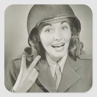 Woman Wearing an Army Helmet Square Sticker