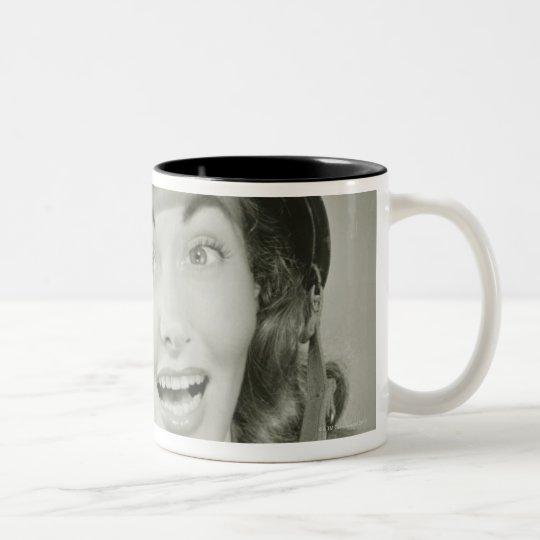 Woman Wearing an Army Helmet Two-Tone Coffee Mug