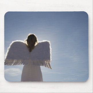 Woman wearing angel wings, rear view, three mouse pad