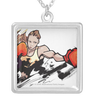 Woman wearing boxing glove silver plated necklace