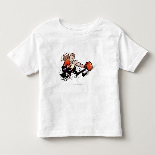 Woman wearing boxing glove toddler t-shirt