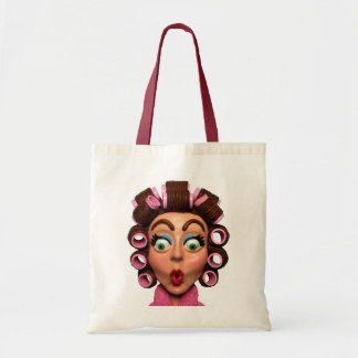 Woman Wearing Curlers Budget Tote Bag
