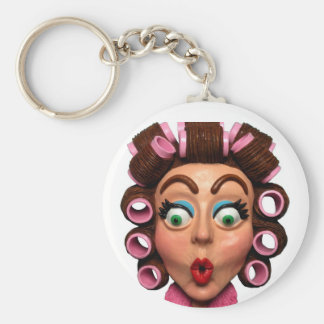 Woman Wearing Curlers Basic Round Button Keychain