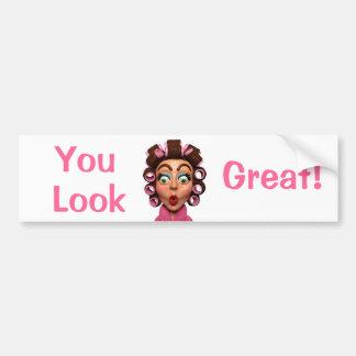 Woman Wearing Curlers Bumper Sticker