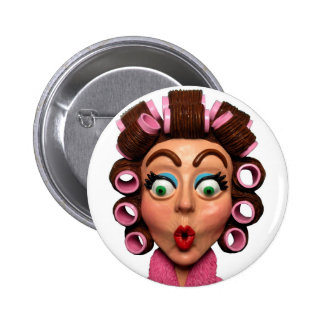 Woman Wearing Curlers Button