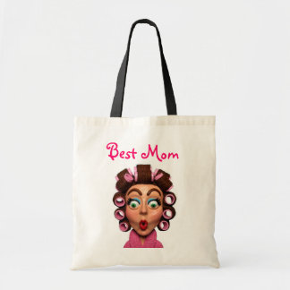 Woman Wearing Curlers Canvas Bags