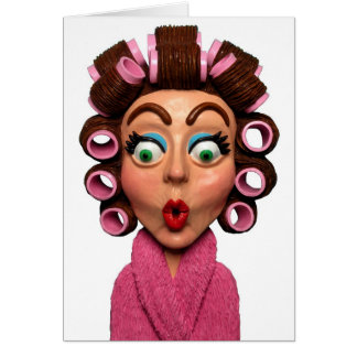 Woman Wearing Curlers Greeting Card