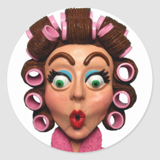 Woman Wearing Curlers Classic Round Sticker