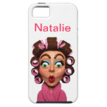 Woman Wearing Curlers iPhone 5 Covers