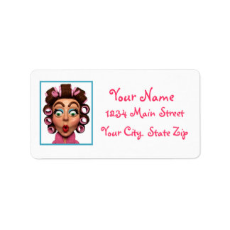 Woman Wearing Curlers Label
