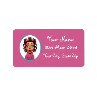 Woman Wearing Curlers Address Label