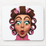 Woman Wearing Curlers Mouse Pads