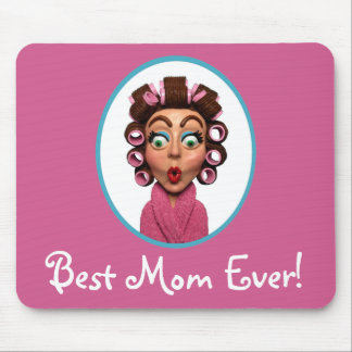 Woman Wearing Curlers Mouse Pad