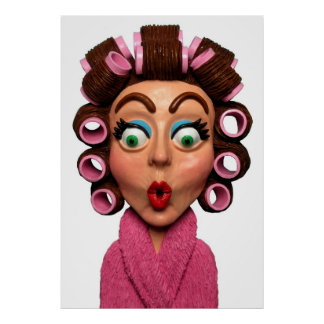 Woman Wearing Curlers Poster