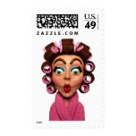 Woman Wearing Curlers Stamp