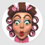 Woman Wearing Curlers Stickers