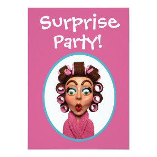 """Woman Wearing Curlers Surprise Party 5"""" X 7"""" Invitation Card"""