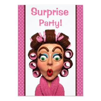 Woman Wearing Curlers Surprise Party 5x7 Paper Invitation Card