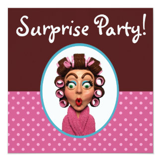 Woman Wearing Curlers Surprise Party 5.25x5.25 Square Paper Invitation Card