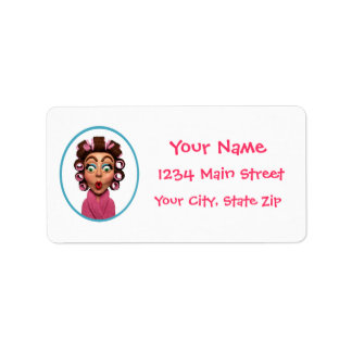 Woman Wearing Curlers Surprise Party Address Label
