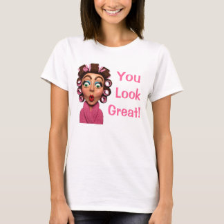Woman Wearing Curlers T-Shirt