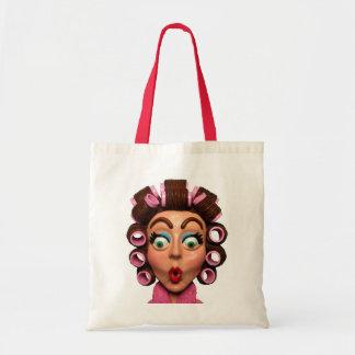 Woman Wearing Curlers Tote Bag