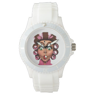 Woman Wearing Curlers Wristwatches