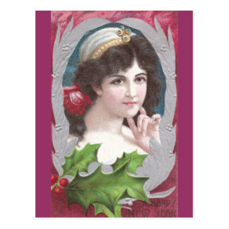 Woman Wearing Diadem for the New Year Postcard