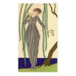 Woman wearing Gray Taffeta Gown Business Card Template