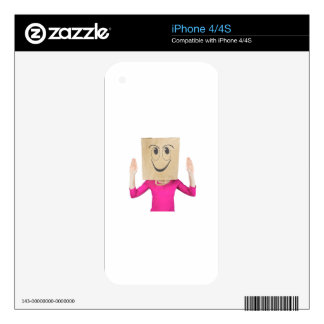 Woman wearing paper bag with happy face decal for iPhone 4S