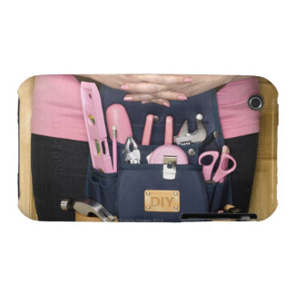 Woman wearing pink DIY tool belt, mid section Case-Mate iPhone 3 Case