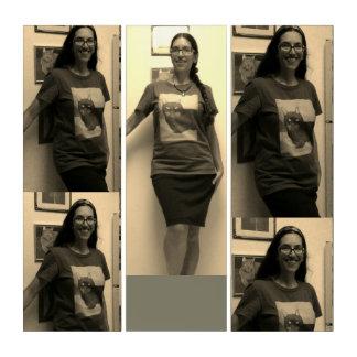 Woman Wearing The Cat Shirt Triptych
