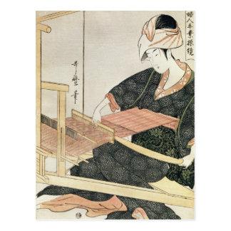Woman Weaving Postcard