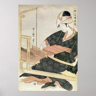 Woman Weaving Poster