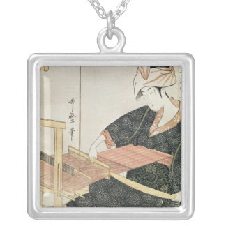 Woman Weaving Silver Plated Necklace