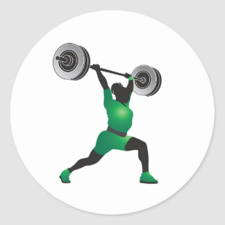 Woman Weightlifting Classic Round Sticker