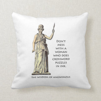 """Woman who does crossword puzzles in ink"" pillow"