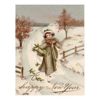 Woman Winter Snow Holly Mistletoe Tree Postcard