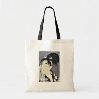 Woman wiping sweat by Kitagawa, Utamaro Ukiyoe Canvas Bags