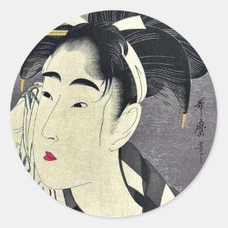 Woman wiping sweat by Kitagawa, Utamaro Ukiyoe Classic Round Sticker